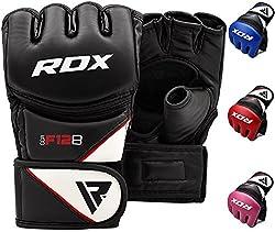 RDX MMA Combat Glove in Cowhide, Black, Size M