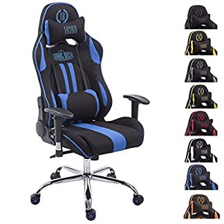 CLP Silla Racing XL Limit En Tela I Silla Gaming con Base De Metal I Silla De Ordenador Altura Regulable I Silla Gamer Giratoria I Color: Negro/Amarillo, con reposapiés