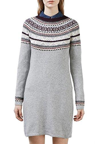 edc by ESPRIT Damen Kleid 116CC1E037, Grau (Grey 030), 36 (Herstellergröße: S)
