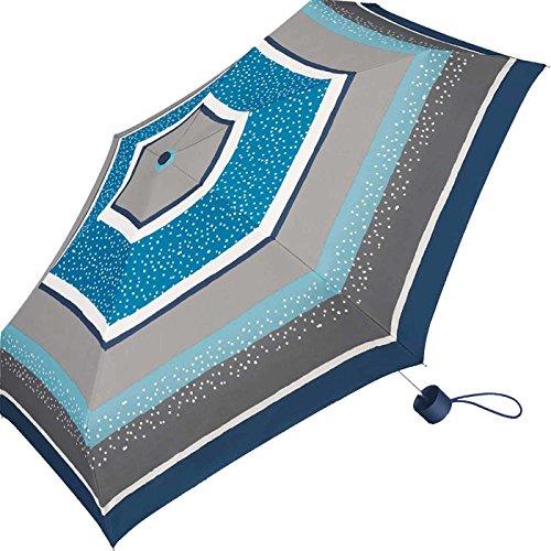 Esprit Super Mini Damen Taschenschirm Petito Punkte Dots gestreift - Sparkle stripe - blue