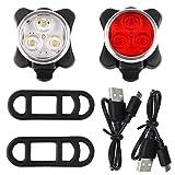 MeinZ 350LM - Wiederaufladbare LED Fahrradbeleuchtung, USB LED Set Frontlicht und Rücklicht,...