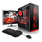 Megaport Super Méga Pack - Unité Centrale pc Gamer Complet Intel Core i7-8700 • Ecran LED 24' • Claviers de Jeu Souris • GeForce GTX1060 6Go • 16Go • Win 10 Ordinateur de Bureau pc Gaming