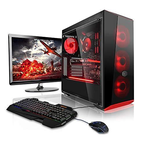 Megaport Super Méga Pack - Unité Centrale pc Gamer Complet Intel Core i7-8700 Ecran LED 24' Claviers de Jeu et Souris GeForce GTX1060 6Go 16Go Win 10 Ordinateur de Bureau pc Gaming