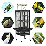 Popamazing Bird Breeding Cage Pet Supply Metal Cockatoo Parrot Finch with Perch Stand and Wheels (Black)