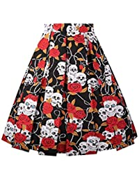 51c115a6786cc2 DresseverBrand Damen Rockabilly Rock A Linie Retro Rock Midi Swing Röcke