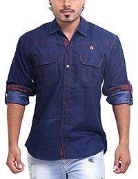PP Shirts Men Denim Casual Shirt (Blue XL)