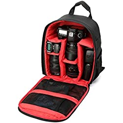 heekpek Camera Bag Sac à Dos imperméable à l'épreuve des Chocs DSLR pour Sony Canon Nikon avec Porte-trépied (Rouge)