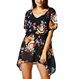 TWIFER Floral Bedruckte Asymmetrische T-Shirt V-Cut Lose Bluse Tops Plus Size (2XL,Schwarz)