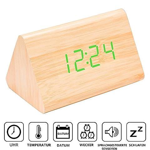Wecker WOOD MEETS COLOR Digital Uhr in Holzoptik groß mit