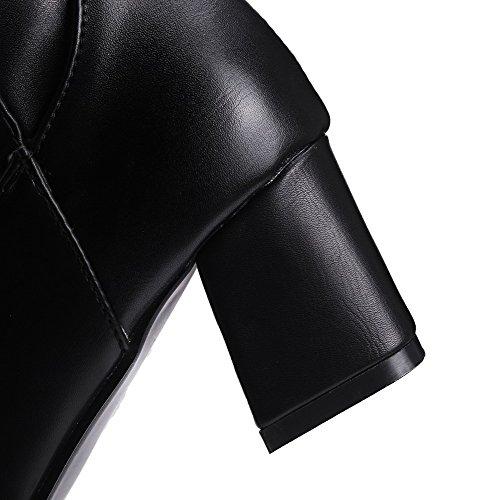 VogueZone009 Donna Cerniera Tacco Medio Puro Alta Altezza Stivali con Metallo Nero