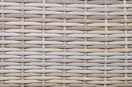 Beistelltisch aus Polyrattan Geflecht beige. Wetterfester Gartentisch, Spraystone-Tischplatte und Alu-Gestell, ideal als Garten, Balkon und Terrasse