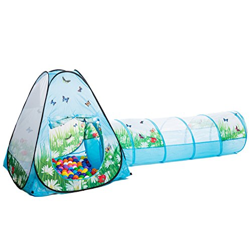 aussergewoehnlich® Schmetterlinge Tunnel Bällebad pop-up Zelt mit 200 bunten Bällen