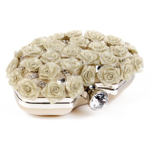 Damara piena Rose Shim MERT Borsetta rigida Clutch Donna, nero (nero), S argento