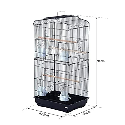 PawHut Large Metal Bird Cage for Parrot Parakeet Macaw Pet Supply Black 47.5L x 36W x 91H (cm) 2