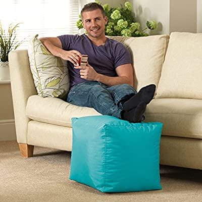 Bean Bag Bazaar 38cm x 38cm, Cube Bean Bag Stool - Indoor and Outdoor Use - Water Resistant, Weather Proof Bean Bags (2, Aqua Blue)