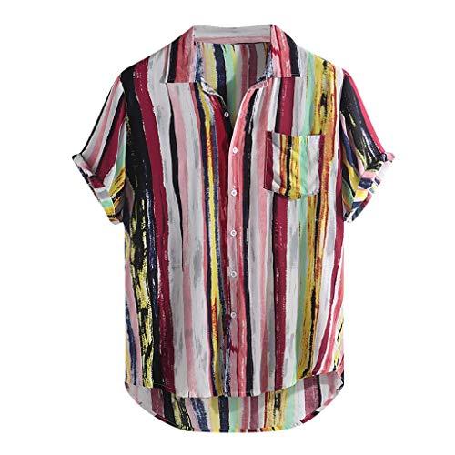 KIMODO Herren Hemd Mehrfarbig Streifen Lump Brusttasche T-Shirt Kurzarm Sommer Top Rundsaum Lose Bluse Freizeit Shirt für Männer -