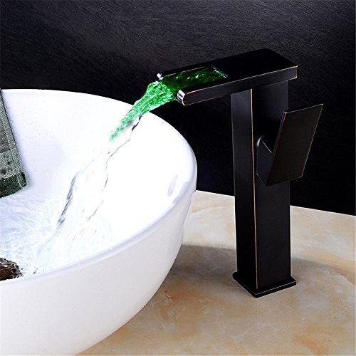 Einhebelmischer für die Küche, mit herausziehbarem Sprühkopf, 360 Grad drehbar, mit LED-Wasserfall über dem Zähler, Wasserhahn, schwarzes Kupfer, Wasserfallarmatur mit UK-Standardarmaturen