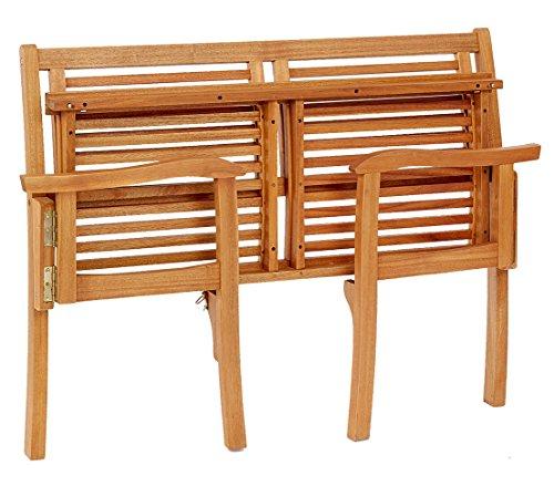 Dehner Klappbank Douglas, 2-Sitzer, ca. 119 x 62 x 90 cm, FSC Akazienholz, geölt, natur - 4