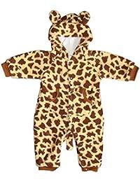 """DAS ORIGINAL BOMIO® Baby Overall aus Fleece """"Giraffe"""", Strampler für Frühling/Sommer u. Herbst/Winter, Größen """"3-18 Monate"""""""
