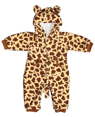 BOMIO Unisex Overall | Kuscheliger Baby-Anzug | Fleece-Overall mit Kapuze | wärmender Winter-Strampler für Babys und Kleinkinder | niedliche Tierdesigns | (Anzug Giraffe)