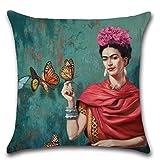 REFURBISHHOUSE Pintura de Mujer Frida Kahlo Funda de Almohada Cubierta de cojin de su Cabeza (