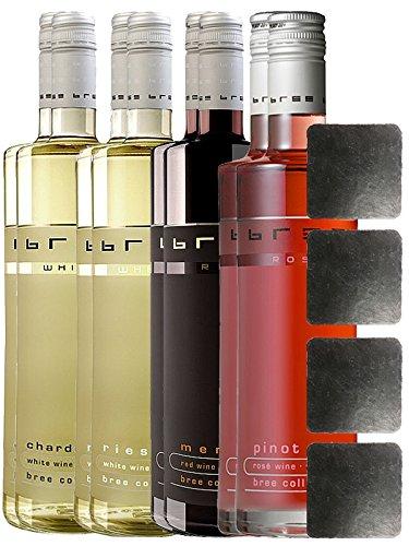 Bree Wein alle 4 Sorten jeweils 2 Flaschen + 4 Schieferuntersetzer quadratisch ca. 9,5 cm