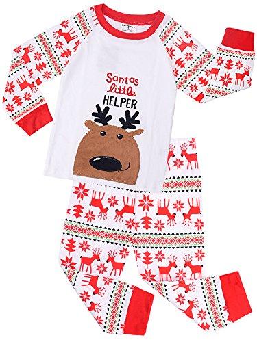 Amooy Dizi Weihnachten Jungen Pyjama Karikatur Rentier Weiß Baumwolle Lange Ärmel Kleider (5 Jahre)
