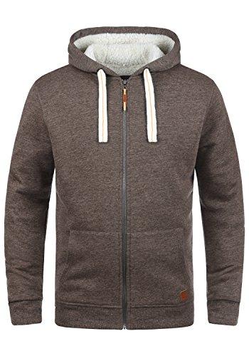 BLEND Ted Herren Sweatjacke Kapuzen-Jacke Zip-Hoodie mit Teddy-Futter aus hochwertiger Baumwollmischung, Größe:L, Farbe:Mocca Mix (70816)