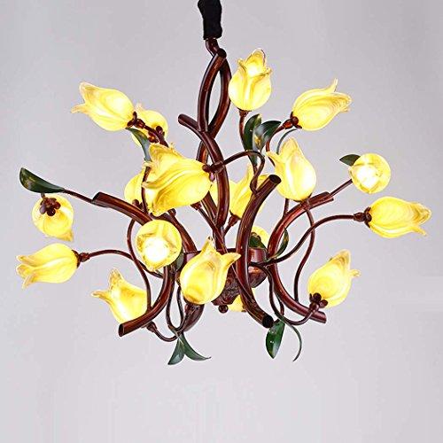 Kerze-Stil Kronleuchter Ambient Light modernen minimalistischen rustikalen Stil Kristall Tulpe Glas Lampenschirm Pendelleuchte, neues Design, kreativ, 110-120V / 220-240V, gelb, Birne enthalten / G4 / 15-20 (Natürliche Stile Noni)