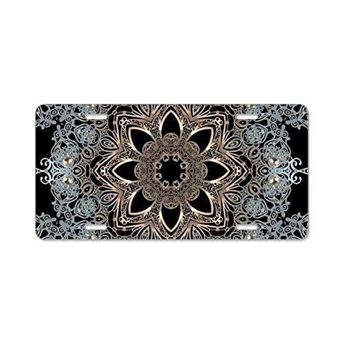 CafePress-Floral Mandala Hipster BOHE-Aluminium Nummernschild, vorne Nummernschild, Vanity Tag