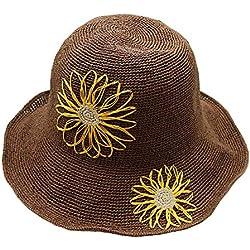 Sombrero De Paja del Ganchillo Hecho A Mano De La Margarita, Sombrero del Sol del Viaje del Verano De Las Señoras, Sombrero Plegable,E
