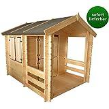 Spielhaus - 1,75 x 1,30 Meter aus 19mm Blockbohlen - Kinder Gartenhaus Kinderspielhaus Kinderhaus inkl. Fußboden und Dachpappe