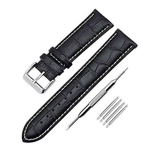 Leder Uhrenarmband Zeiger Uhrenarmbänder Uhren Armband Uhren Ersatzarmband Schwarz Ersatz Uhrenarmbänder für Herren und Damen mit Reparaturwerkzeug 22 mm ZEI-UKB004-FBA (Ersatz-nautica-uhr-band)
