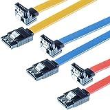 Poppstar 3x Câble de données SATA 3 HDD SSD, fiche droit coudé de 90 degrés, jusqu'à 6 Go/s, longueur 0,5 m, couleur jaune, rouge, bleu