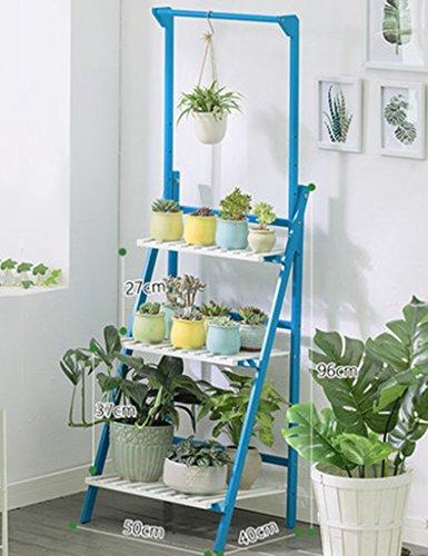 Bleu 3 Niveaux Plante Échelle Bambou Multifonctionnel Plante Fleur Pot Stands Intérieur Extérieur (Taille : 50 * 40 * 96CM)