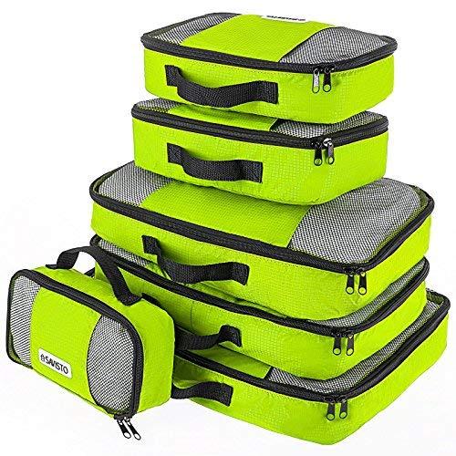 Savisto Packing Cubes, 6-teiliges Packtaschen Set für Urlaub, Reisen, Flugreisen - Ordnungssystem für Koffer, Handgepäck, Trolley, Reisetasche und Rucksack - Packwürfel in 7 Farben - Grün