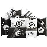 Papierdrachen 24 Adventskalender Pillowboxen - mit Washitape und schwarzweißen Zahlenaufklebern - 24 Kissenschachteln - zum individuellen Befüllen und Gestalten