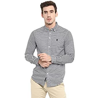 Red Tape Men's Striped Regular Fit Casual Shirt (RSF8991A_Black_S)