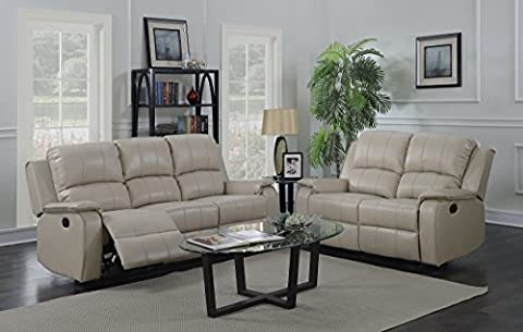 Beige Taupe Reclining 3 Seater Sofa + 2 Seater Recliner Sofa Suite JENSONS . (3+2)