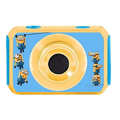 Lexibook dja400des - videocamera digitale 5mp cattivissimo me, design minions schermo lcd, accessori di fissaggio, caso impermeabile, giallo/blu