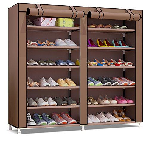 Udear portascarpe scarpiera mobiletto a 7 ripiani, capacit?fino a 36 paia di scarpe, scarpiera armadio marrone