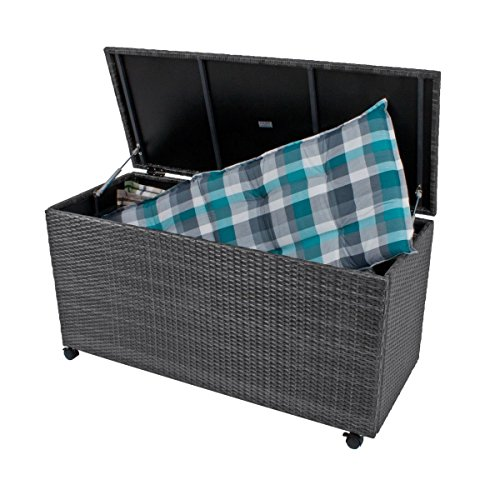 Auflagenbox Gartenbox Gartentruhe Kissenbox Gartenmöbel Garten Box GRAU Rollen