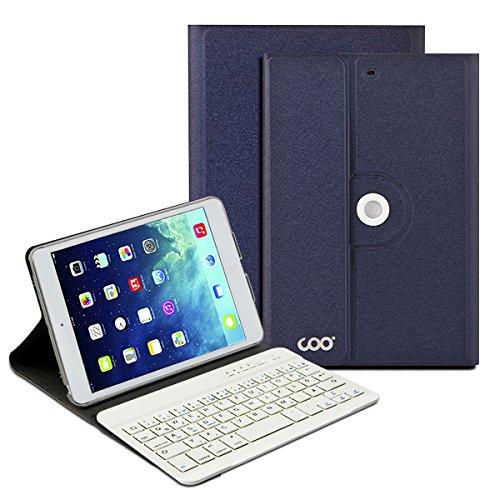 iPad mini Deutsche Bluetooth Tastatur, COO Schutzhülle-Tastatur für Apple iPad mini 123, 3in1 Tastatur gilt für IOS, Android, windows System, auch Smart cover mit automatischer Wake/sleep Funktion und Multi-Angle Ständer (Dunkelblau)