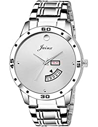 Jainx Silver Day And Date Analog Watch For Men & Boys - JM312