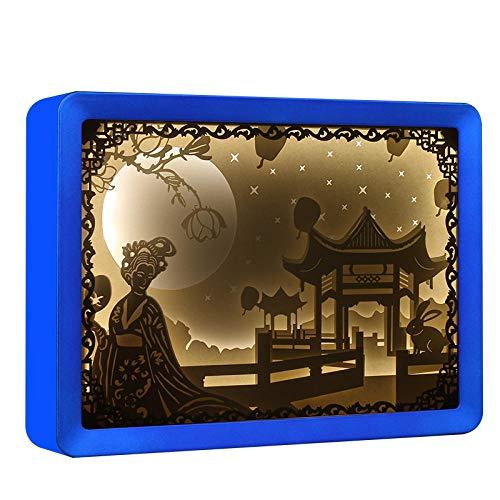Leselampe Nachttischlampe Tischlampe Schreibtischlampe Tischleuchte Aktivität Papier Carving Lampe Festival Atmosphäre Geschenk Licht @ Abs Blue_Warm Gelb -