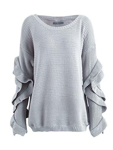 simplee abbigliamento delle donne in autunno - inverno una spalla a maniche lunghe balze maglione maglione sopra Grigio