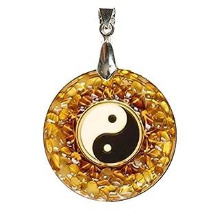 YIN YANG Bernstein Amulett handgefertigt Charm Halskette–Spirituelle Buddhistische oder New Age Schmuck Geschenk
