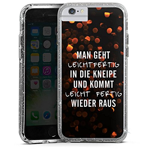 Apple iPhone 6s Plus Bumper Hülle Bumper Case Glitzer Hülle Bar Kneipe Humor Bumper Case Glitzer silber