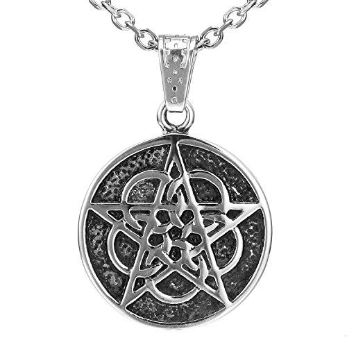ramm-5Kreise Pentagramm Edelstahl Anhänger Halskette für Männer & Frauen (53.4cm Kette) ()