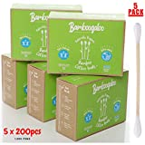 BAMBOOGALOO Organic Bamboo Cotton Buds - 100% Plastic Free, Eco-Friendly & Biodegradable. Value Bundle - 1000 Ear Buds Swabs. FSC Certified Sustainable Alternative to Plastic Q Tips. Zero Waste, Vegan
